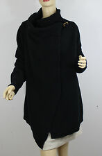Polo Ralph Lauren Womens Sweater Medium Black Wrap Cotton Leather Buckle