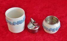 Vintage 3 Pc Wedgwood Porcelain Cigarette Lighter & Holder Queensware Barlaston