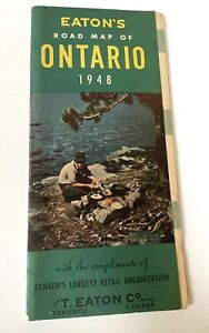The T. Eaton's Co Dept Store Road Map of Ontario Canada 1948 Edition Vintage
