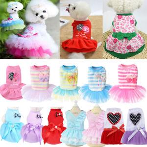Pet Clothes Puppy Small Dog Cat Cotton Lace Tutu Skirt Apparel Princess Dress UK