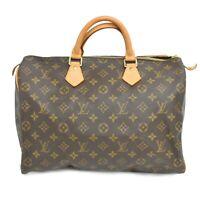 Louis Vuitton Speedy 35 M41524 Monogram Boston Satchel Handbag Bag Brown Gold
