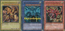 YUGIOH  3 X EGYPTIAN GOD CARDS, RA, OBELISK &  SKY DRAGON LC01  ULTRA RARES!!