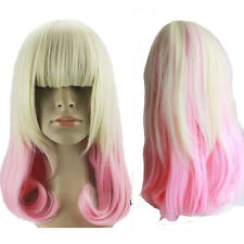 Lady Lolita Harajuku Blonde Pink Ombre Wig Short Curly Wavy Hair Cosplay Costume