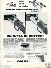 1963 Print Ad of JL Galef Beretta Silver Snipe & Silver Hawk Shotgun ducks