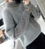 Korean Style Womens Gray cashmere Woolen High Neck Knitted Sweater Coat Tops New