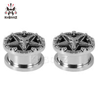 Hexagram Design Ear Gauges and Ear Tunnels Body Piercing Jewelry Ear Plugs 2pcs
