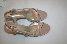 "John Romaine Ribbon Womens 3"" Heels Dark Beige Sandals 7.5 M Slingback Shoes"