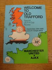 29/09/1976 Manchester United v Ajax [UEFA Cup] (Score on back, pin hole, torn, r