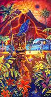 Hula Hut Motel Lodging Hawaiian Collectible Painting Kitsch CBjork Art PRINT