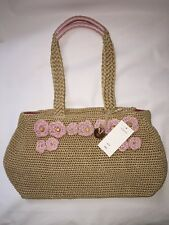The Sak  Bamboo w/ Pink Flowers Crochet Medium Shopper Tote Bag  NEW