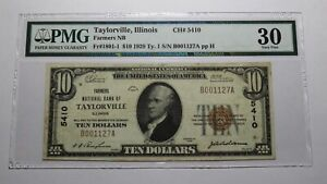 $10 1929 Taylorville Illinois IL National Currency Bank Note Bill Ch #5410 VF30