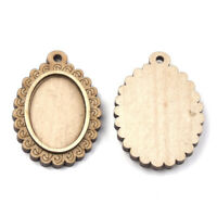 100 Natural Wood Cameo Pendant Setting Bezels Carved Round Charm Blank 25mm Tray