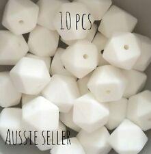 10 silicone beads SNOW WHITE 17mm hexagon BPAfree sensory teething jewellery DIY