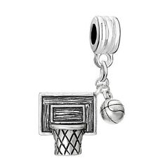 Basketball Net Hoop with Dangling Basketball for Snake Chain Bracelet