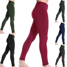 WOMENS LADIES FLEECE TIGHTS BLACK WARM WINTER THICK TROUSER THERMAL PANTS 8-14