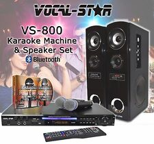 VOCAL-STAR VS800 CDG DVD KARAOKE MACHINE & SPEAKERS SET 2 MICROPHONES 150 SONGS