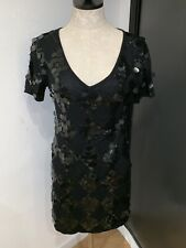 Nanette Lapore Black Merino And Sequin Short Sleeve Dress Small Tags On