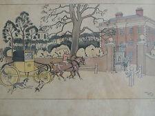 Gravure ancienne coloriée au pochoir par Harry Elliot ( 1882-1959 ) , cabriolet