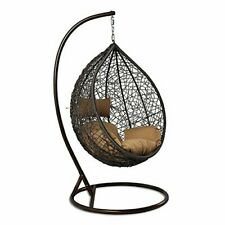 Island Gale Outdoor Brown Wicker Rattan Hanging Swing Egg Chair Hammock with Sta