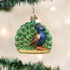 OLD WORLD CHRISTMAS PROUD PEACOCK GLASS CHRISTMAS ORNAMENT 16074