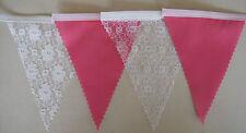 Qualità Corallo & Bianco Pizzo, tessuto Bunting Festa Matrimonio, Decorazione, Regalo
