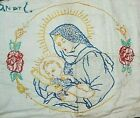 Vintage Hand Stitched  Embroidered Mother Mary & Baby Jesus
