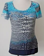 M&S PER UNA Blue Mix Pattern Top Size Uk 12 Holiday Work NEW WITH TAGS RRP £25