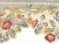 Wallpaper Border Green Vine With Red Flowers and Blue Berries on Cream