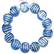 G1270 Blue White w Black Stripes 14mm Flat Round Lampwork Glass Beads 13pc