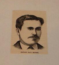 small 1887 magazine engraving ~ CAPTAIN PAUL BOYTON