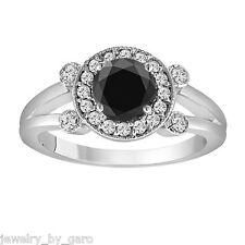 ENHANCED FANCY BLACK DIAMOND ENGAGEMENT RING 14K WHITE GOLD 1.03 CARAT