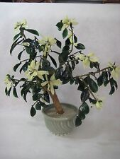 "Vintage Chinese Bonsai Glass Flower Tree Plant, 18"" Tall X 20"" Widest"