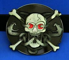 Belt Buckle Metal Skull And Bones Includes Leather Belt  New Free USA Shipping