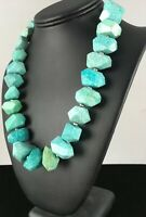 Chunky Sterling Silver Amazonite Bead Necklace Navajo Pearls 8475