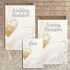 WEDDING INVITATIONS BLANK GOLD EFFECT & GREY MARBLE PRINT, PACKS OF 10