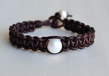 Pearl Leather Cuff Bracelet Single Pearl Handmade Fashion Jewelry By Yevga 7.5''