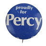 Vtg Proudly For Charles Percy Political Campaign Lithograph Pinback Button