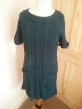 M&S Knitted Cable Knit Jumper Dress Dark Teal Blue Green Pockets 16 short sleeve