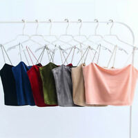 Lady Velvet Crop Top Camisole Spaghetti Strap Party Club Wear Tank Top Retro Tee