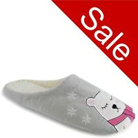 Ladies Grey Poler Bear Character Mule Slippers Slip On Size 3 4 5 6 7 8