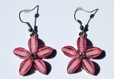 Earring Sparkle Resin Plumeria Hibiscus Flower Dangle Hawaii Luau CZ Hot Pink
