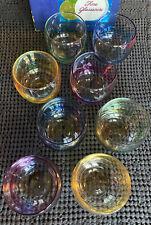 Vintage Federal Glass Rainbow Gem-Tone Roly Poly Tumblers Mid Century Mod w Box