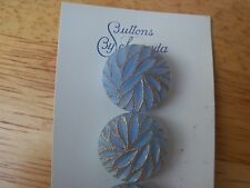8 BLUE GLASS GOLD ACCENT VINTAGE SCHWANDA BUTTONS SEWING KNITTING CRAFTS 17mm