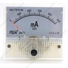 1×DC 500mA Analog Panel AMP Current Meter Ammeter Gauge 85C1 White 0-500mA DC