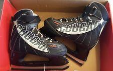 COUGAR Mens Skates Ice Hockey 558 Soft Boot Size 5 Black New Box Pull Heel Tab
