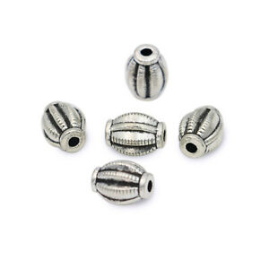 20Pc Silver Oval Loose Spacer Beads for Jewelry Making Bracelet Accessories DIY