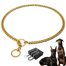 Stainless Steel Dog Chain Collar Heavy Duty Slip P Choke Show Collar Gold Silver