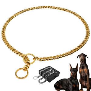 Stainless Steel Dog Chain Collar Heavy Duty Slip P Choke Show Collar Gold Silver