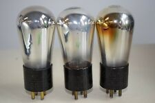 SUPERB TRIO! CUNNINGHAM CX-301-A VINTAGE ETCHED BASE GLOBE TUBES - BRASS PINS ++