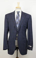New. CANALI 1934 Gray Plaid Wool 2 Button Suit Size 50/40 R Drop 7 $1895